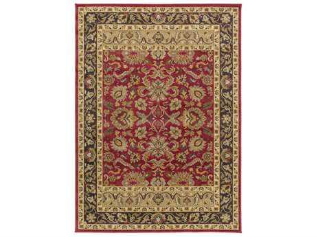 Surya Willow Lodge Rectangular Bright Red, Dark Brown & Tan Area Rug
