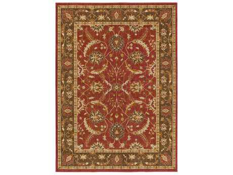 Surya Willow Lodge Rectangular Bright Red, Dark Brown & Khaki Area Rug
