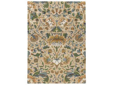 Surya William Morris Rectangular Wheat, Teal & Dark Green Area Rug