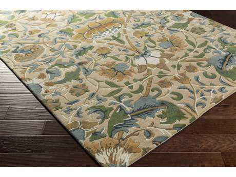 Surya William Morris Rectangular Wheat, Teal & Dark Green Area Rug