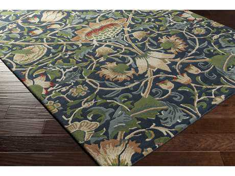 Surya William Morris Rectangular Navy, Dark Green & Teal Area Rug