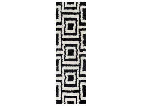 Surya Winfield 2'3'' x 7'10'' Rectangular Black & White Runner Rug