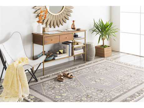 Surya Zahra Rectangular Charcoal, Medium Gray & Khaki Area Rug