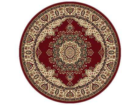 Tayse Rugs Sensation Fiona Round Red Area Rug
