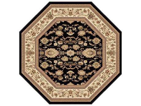 Tayse Rugs Sensation Gabrielle Octagon Black Area Rug