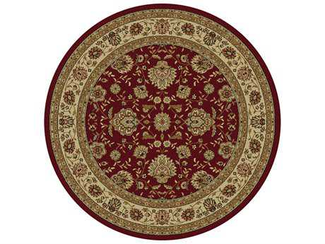 Tayse Rugs Elegance Raleigh Round Red Area Rug