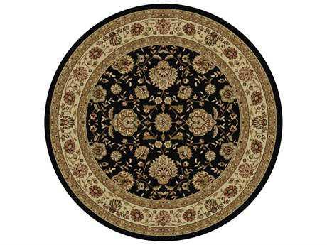 Tayse Rugs Elegance Raleigh Round Black Area Rug