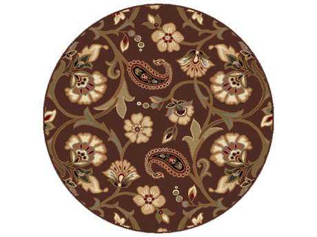 Tayse Rugs Elegance Brianna Round Brown Area Rug