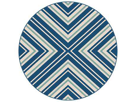 Tayse Rugs Garden City Charley 7'10'' Round Navy Area Rug