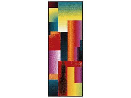 Tayse Rugs Symphony Mondria Rectangular Multi-Color Runner Rug