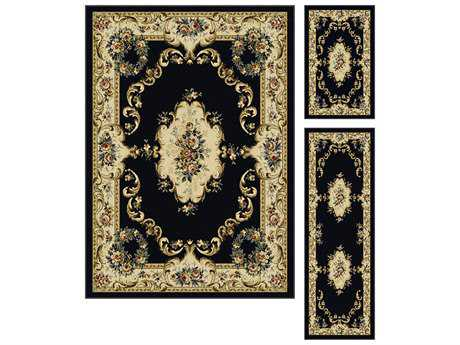 Tayse Rugs Laguna Angeline Rectangular Charcoal Area Rug Set