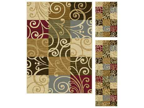Tayse Rugs Laguna Carmen Rectangular Beige Multi-Color Rug Set