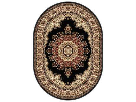Tayse Rugs Sensation Fiona Oval Black Area Rug
