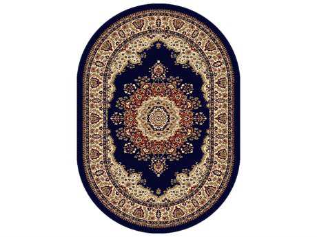 Tayse Rugs Sensation Fiona Oval Navy Blue Area Rug