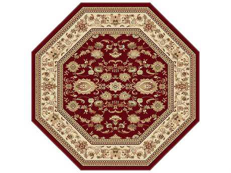 Tayse Rugs Sensation Gabrielle Octagon Red Area Rug