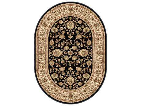 Tayse Rugs Sensation Gabrielle Oval Black Area Rug