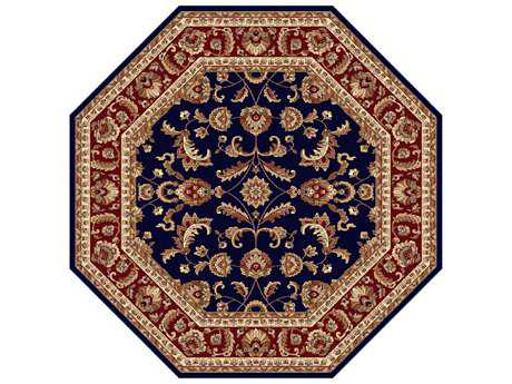 Tayse Rugs Sensation Sariya Octagon Navy Blue Area Rug