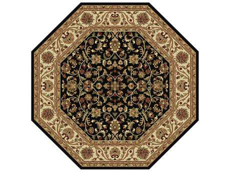 Tayse Rugs Sensation Ventura Octagon Black Area Rug