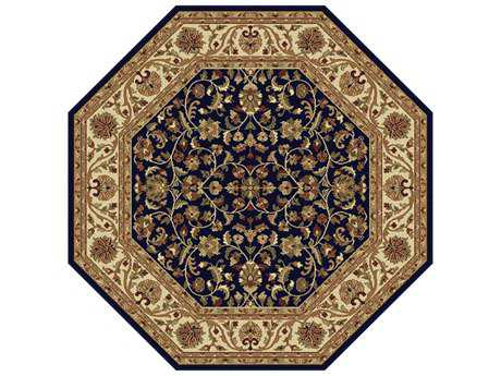 Tayse Rugs Sensation Ventura Octagon Navy Blue Area Rug
