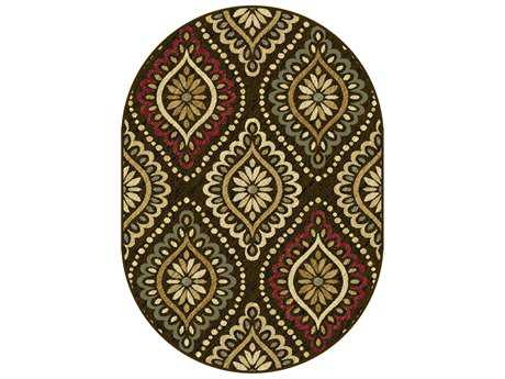 Tayse Rugs Laguna Modesto Oval Brown Area Rug