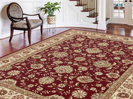 Tayse Rugs Elegance Raleigh Rectangular Red Area Rug
