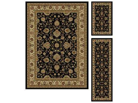Tayse Rugs Elegance Raleigh Rectangular Black Area Rug Set