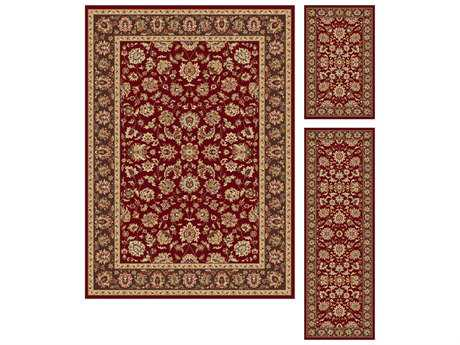 Tayse Rugs Elegance Davenport Rectangular Red Area Rug Set