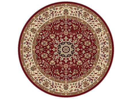 Tayse Rugs Elegance Victoria Round Red Area Rug