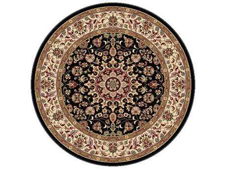 Tayse Rugs Elegance Victoria Round Black Area Rug