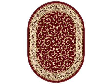 Tayse Rugs Elegance Westminster Oval Red Area Rug