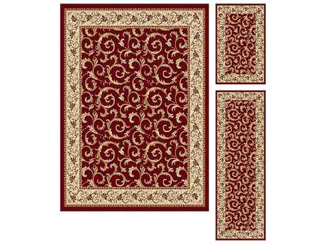 Tayse Rugs Elegance Westminster Rectangular Red Area Rug Set