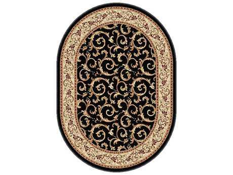 Tayse Rugs Elegance Westminster Oval Black Area Rug