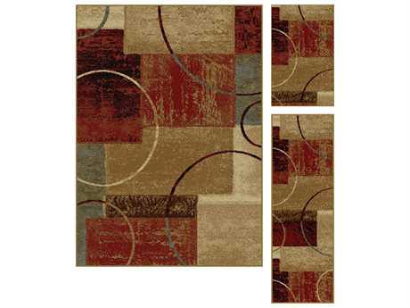 Tayse Rugs Elegance Tacoma Rectangular Red Area Rug Set