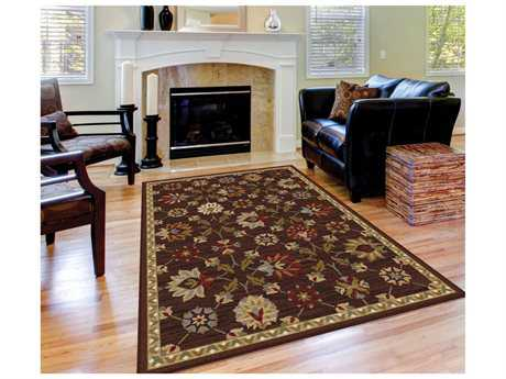 Tayse Rugs Elegance Devon Rectangular Brown Area Rug