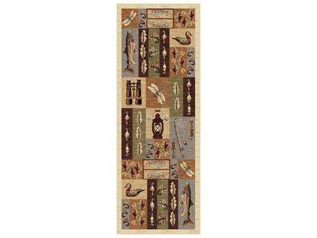 Tayse Rugs Nature Fly Fishing Rectangular Beige Runner Rug