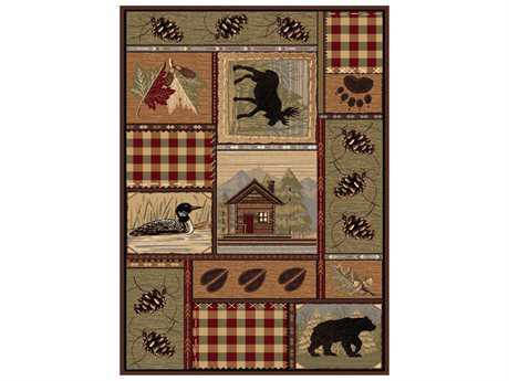 Tayse Rugs Nature Homespun Cabin Rectangular Brown Area Rug