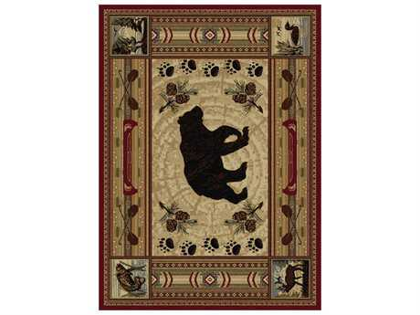 Tayse Rugs Nature Black Bear Rectangular Red Area Rug