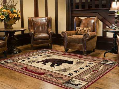 Tayse Rugs Nature Black Bear Rectangular Brown Area Rug