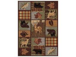Tayse Rugs Nature Colorblock Wildlife Rectangular Brown Area Rug