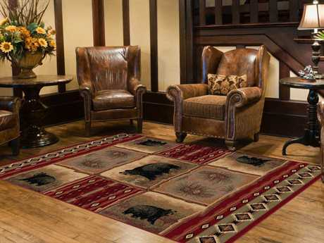 Tayse Rugs Nature Sierra Bear Rectangular Red Area Rug