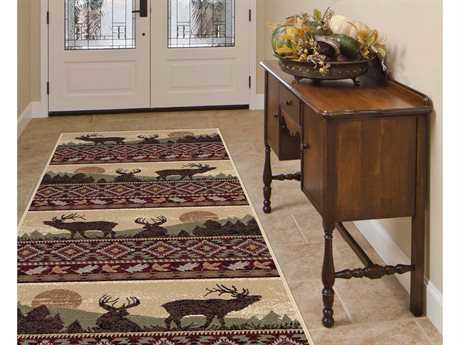 Tayse Rugs Nature Misty Elk Rectangular Red Runner Rug