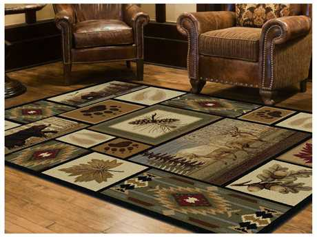 Tayse Rugs Nature Northern Wildlife Rectangular Multi-Color Area Rug