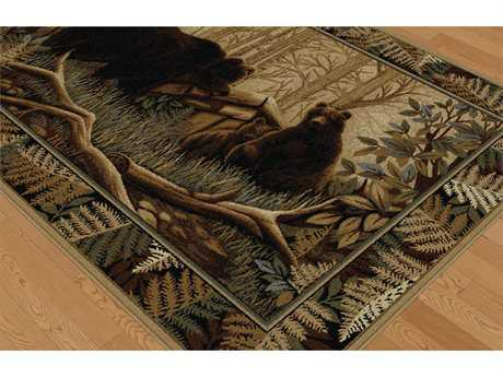 Tayse Rugs Nature Fern Bear Rectangular Beige Area Rug