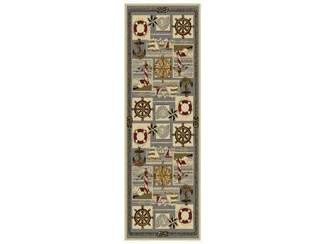 Tayse Rugs Nature Nautical Bliss Rectangular Ivory Runner Rug
