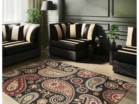Tayse Rugs Impressions Hayley Rectangular Black Area Rug