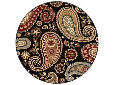 Tayse Rugs Impressions Hayley Round Black Area Rug
