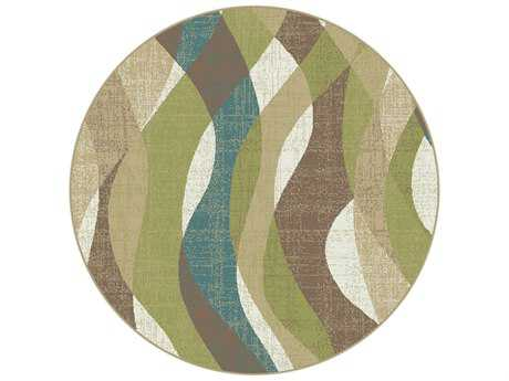 Tayse Rugs Deco Willow Round Ivory Area Rug