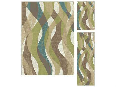Tayse Rugs Deco Willow Rectangular Ivory Area Rug Set