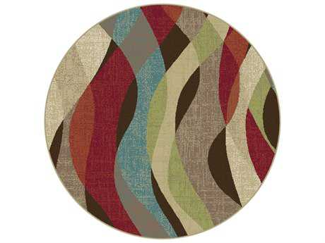 Tayse Rugs Deco Willow Round Brown Area Rug