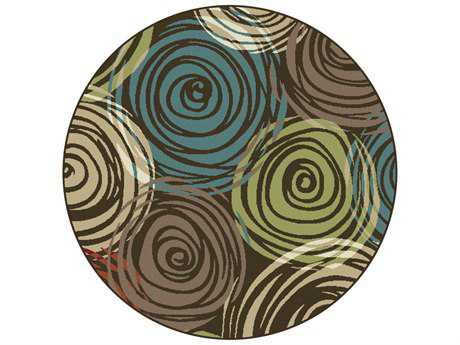 Tayse Rugs Deco Joelle Round Brown Area Rug